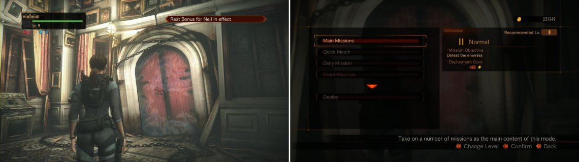 THE Red Door that allows you to play the Missions (left picture). A list of what you can do when you approach it (right picture).