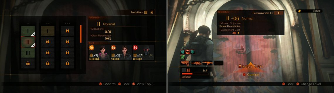 A look at how the Gauntlets are shown (left picture). Prepared to start a mission (right picture).