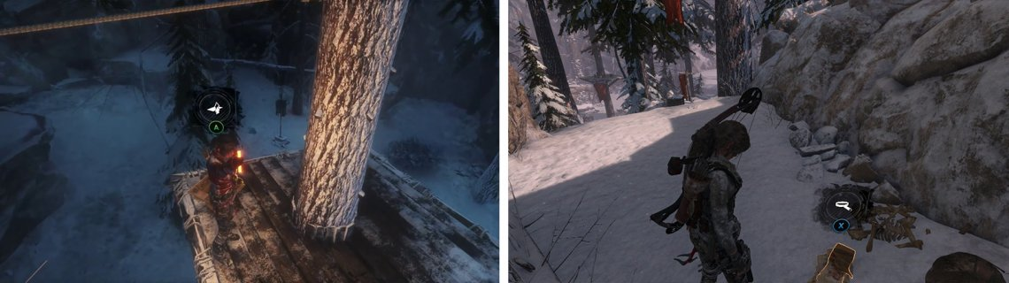 There is an Archivist Map on one of the hunting platforms (left). Document 03 can be found atop a ledge near the rope leading to the Archivist Map (right).