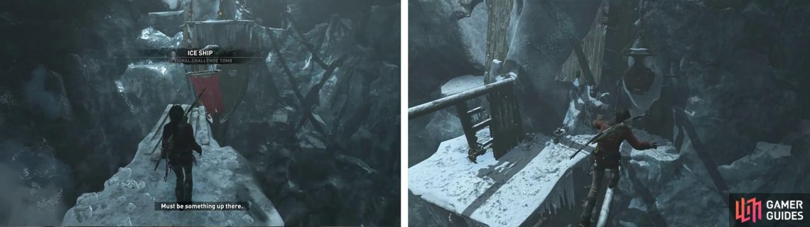 Use the bowspirit to reach the ice ship (left). Climb up and use the masts to reach the bucket - jump onto this to smash the ice on the wall (right).