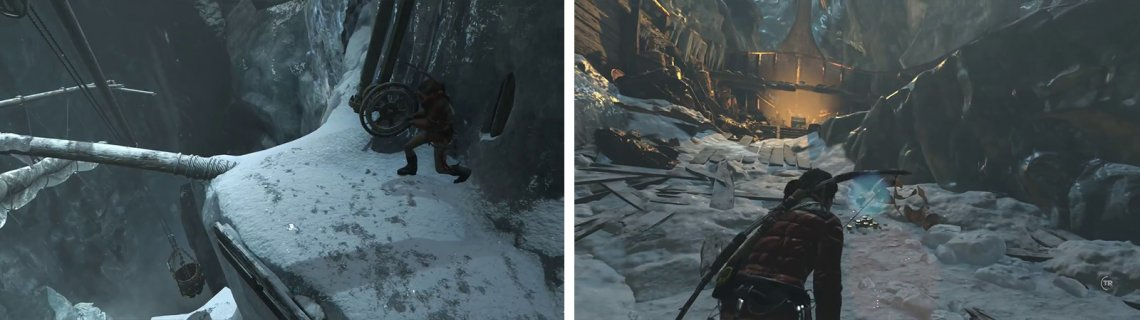 Use the wheel to lower the bucket (left) before using it to break another section of ice. Afterwards climb to the top of the ship and grab the Codex (right).