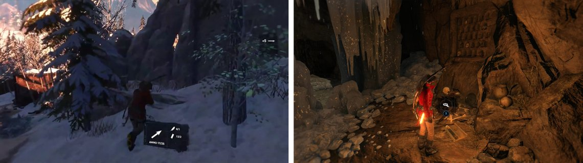 After ziplining down, look for an opening on the right of the path (left) leading to the first Crypt. Inside you'll find numerous collectibles including Document 01 (right).