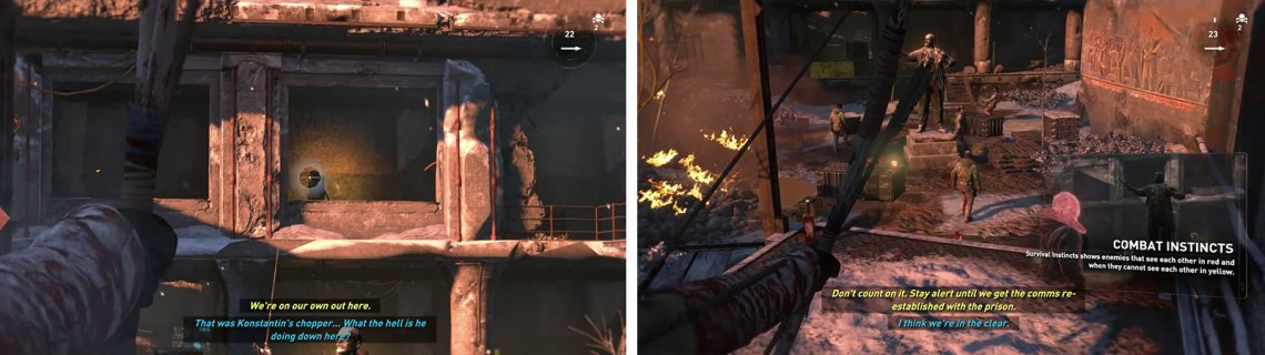 Try to pick off the enemy on the balcony first (left) before dealing with the enemies in the courtyard (right).