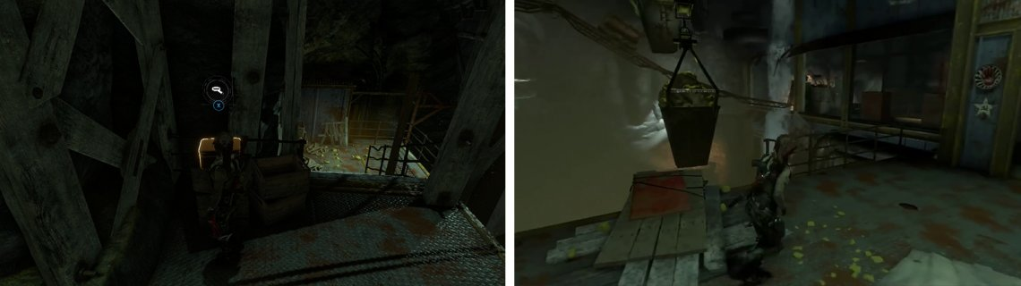 Grab Relic 15 from the container near the top of the stairs (left) and hop across to the container full of stones (right).