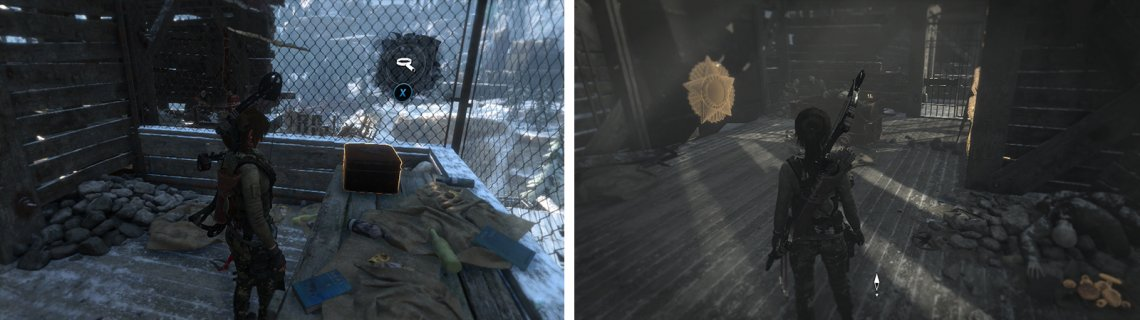 After entering the building you'll find Relic 16 on a desk (left) and Mural 11 on a wall opposite a rope barrier (right).