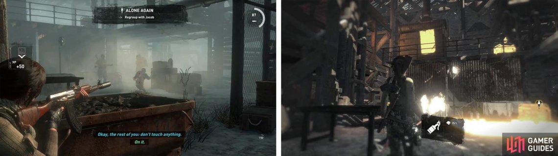 There are three enmies in the first room (left) - hit them with a Molotov or Grenade! Before continuing, hit the Poster above with a Molotov (right).