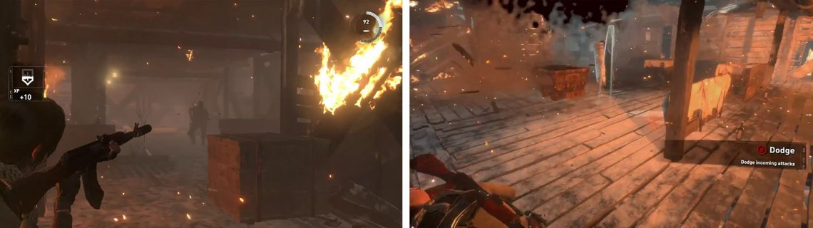 Fight your way through the burning building (left) until you reach the top. When fighting the shield enemies use Molotovs/grenades or lead them through fire to defeat them (right).
