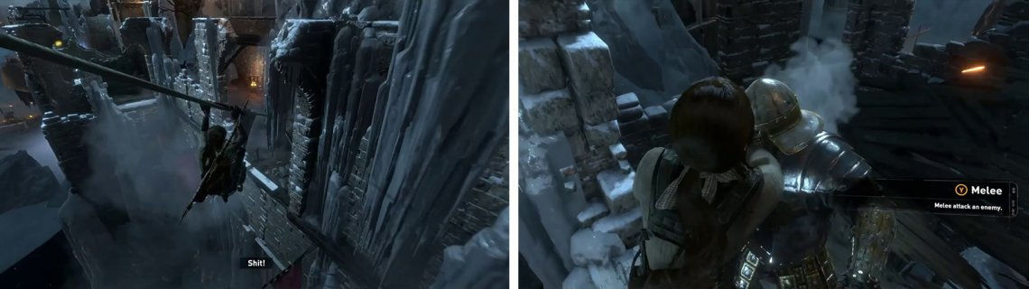 Zipline down to the wall (left) and climb to the top. Mash the melee button during the scene (right) to continue.