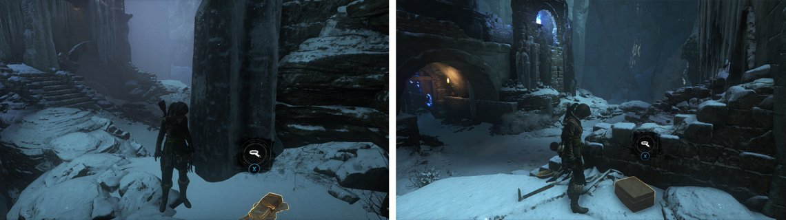 After destroying the gate, look for a ledge to the left with Document 03 (left). At the top of the ramp to the right of the archway is Relic 01 (right).