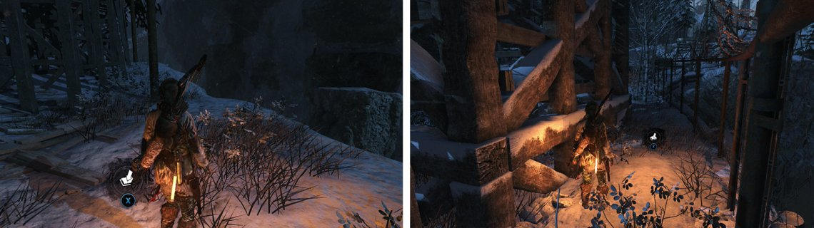 Survival Cache 21 is located at the clifftop near the Copper Mill (left). Coin Cache 08 (right) is behind the silo near the 'Logging Camp' Base Camp.