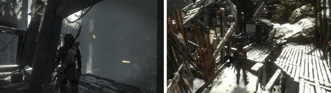 After riding the gondola, look behind the waterfall nearby for Document 13 (left) and on the nearby platform for Survival Cache 03 (right).