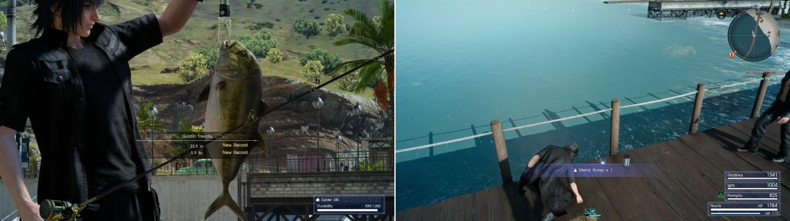 If you want to be ahead of the game, go fishing for some Trevally (left). On the pier you'll find a Metal Scrap, which will be useful for a weapon upgrade later (right).