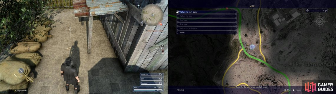 Find Mystery Map III (left) at the marked location (right).