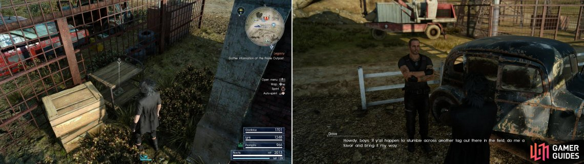 Grab Mystery Map II form a cart in the Prairie Outpost (left) then talk to the resplendant Dave to get another quest to hunt down more Dog Tags (right).