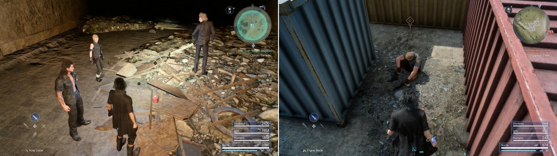 Defeat any pesky Goblins in your way and claim the rare Aero Wax (left). Outside of the mine you'll find a wounded hunter licking his wounds amongst some shipping crates (right).