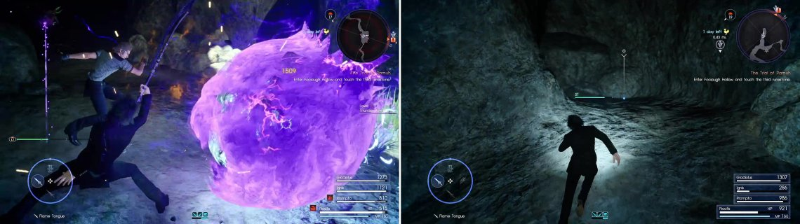 Thunder Bombs can be very powerful in large groups (left). When you reach the ice deposit, cut up the dead end (right) to find another Magic Flask.