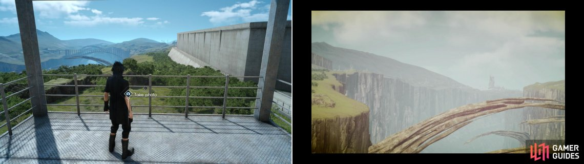 To get to one of the photo spots overlooking the Taelpar Crag you'll need scale a watch tower near an imperial fort (left), but it'll provide the sort of photo Vyv is after (right).