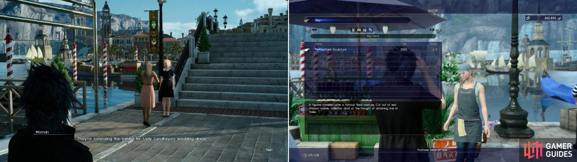 After disembarking at Altissia, you'll overhear some women talking about Luna's wedding dress (left). New cities mean new merchants, and new merchants mean a new Cactuar for Talcott (right).
