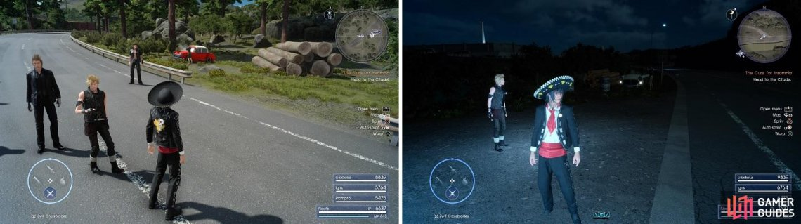 The majority of the cars are found alongside the road (left). At night, you can see the headlights of the vehicle in need of repair (right).