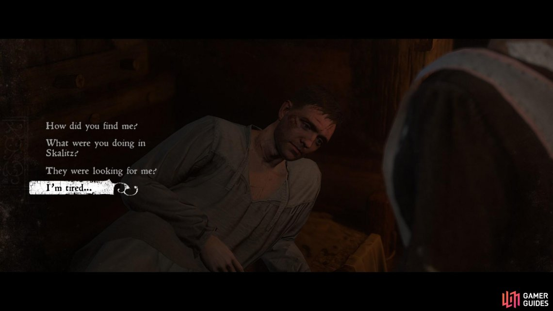 Exhaust the dialogue options with Theresa to learn all that has happened since Henry was attacked at Skalitz by the bandit leader Runt.
