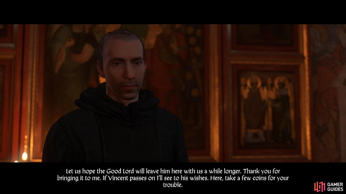 Handing Father Fabian the last will and testament of Vincent completes the quest.