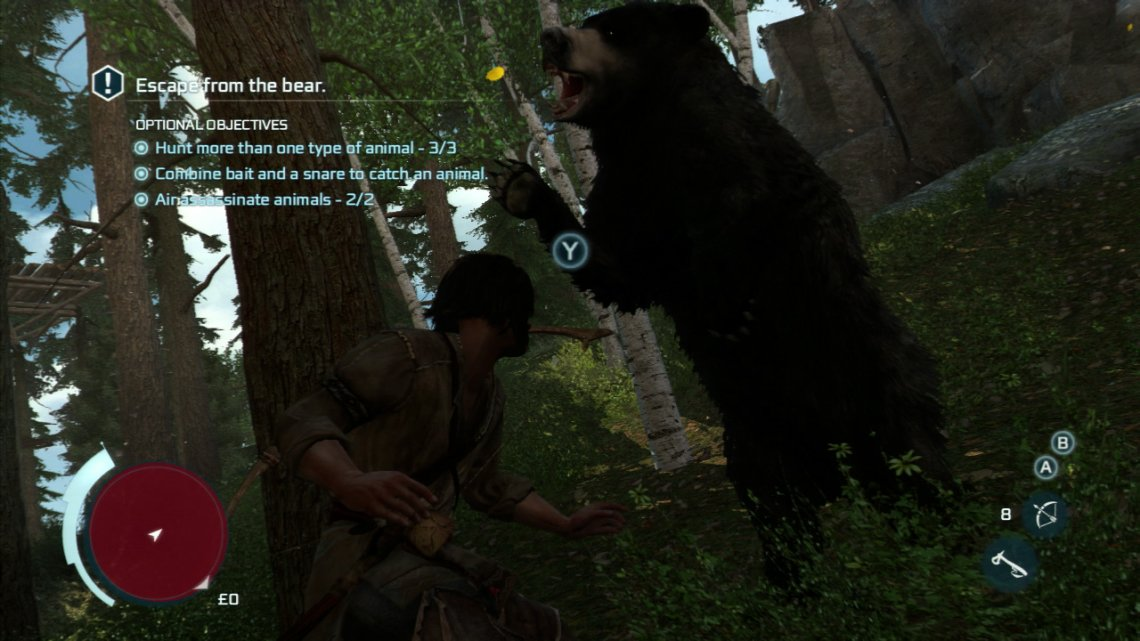 When you regain control, you will be up against a bear. Use the on screen button prompts when required to dodge and then sprint away. You will need to get out of the red circle on the map to lose the bear. Once you are in the clear, return to the village.