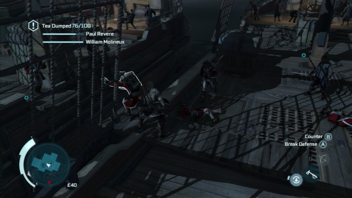Be sure during this time to throw three enemies into the water. You can do this by countering and hitting the grab button to push them. Also during this time, you can loot a musket and when a guard is otherwise occupied on the dock below hop up on the railing of one of the ships and air assassinate him with a musket.  Continue to kill the guards as they approach and once enough of the tea has been thrown into the river the mission will be completed.
