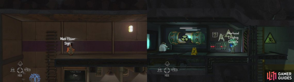 Grab the wet floor sign (left) and then place it next to the scientist pictured (right) and hack the console here.