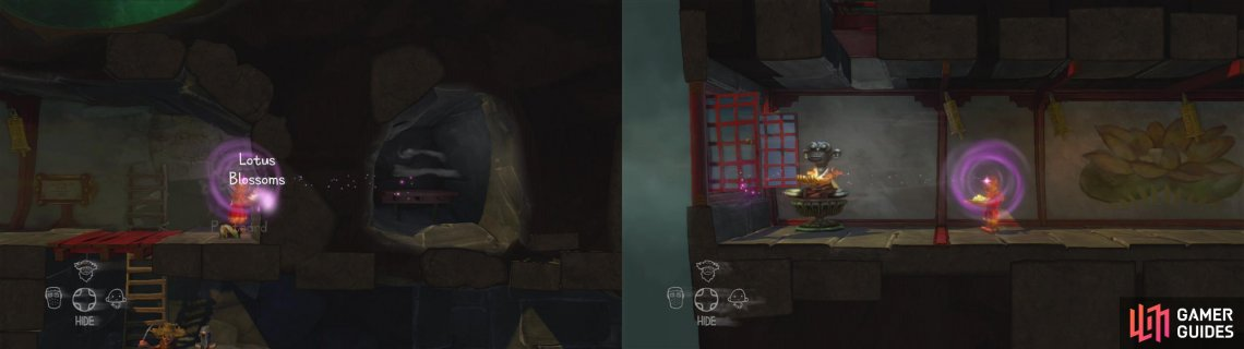 Have the monk use his ability to grab the petals from through the wall (left). Carefully make your way to the end of the hallway and close the window (right).