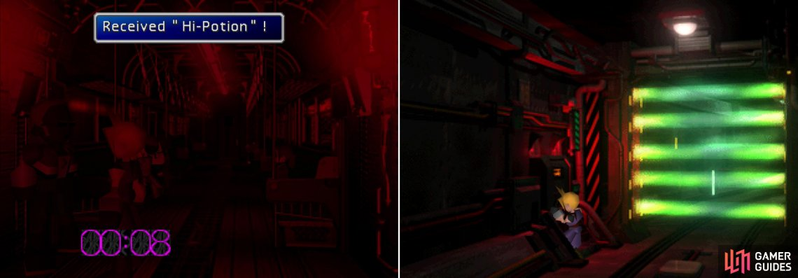 There might be perils on the train when the security alarm goes off, but there are opportunities, as well (left). To get to the reactor you'll have to climb under the plate (right).
