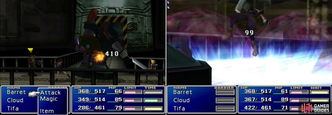 "Attack Air Buster from behind to deal massive damage (left). Air Buster's ""Big Bomber"" attack can be quite painful (right)."