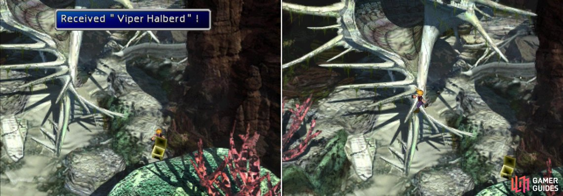 Run around the shell to find a chest containing a Viper Halberd (left) then leap up the shell's spikes to reach the next area (right).