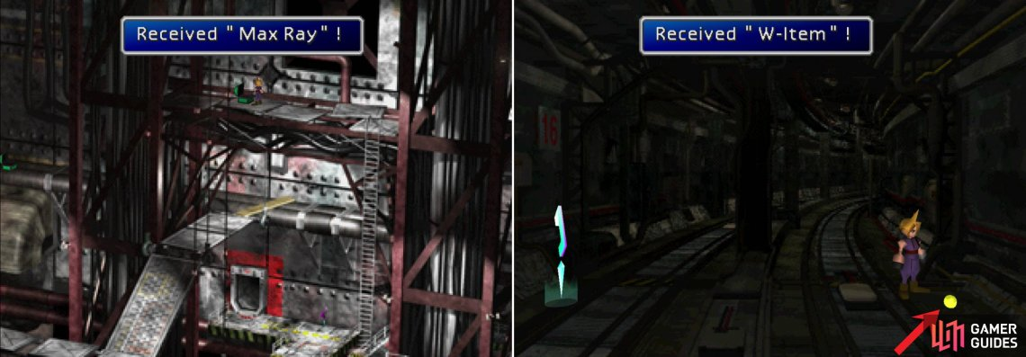 Near the end of the Sector 8, Underground area you'll find the Max Ray, one of Barret's most powerful weapons (left). Explore the Winding Tunnel by heading in the wrong direction to find the W-Item Materia (right).