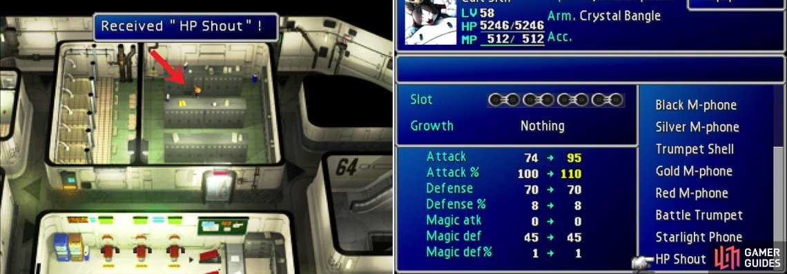 Return to the 64th Floor and search the lockers to claim the megaphone Cloud neglected earlier (left). This megaphone, the HP Shout, happens to be Cait Sith's ultimate weapon, which deals more damage the fuller Cait Sith's HP bar is (right).