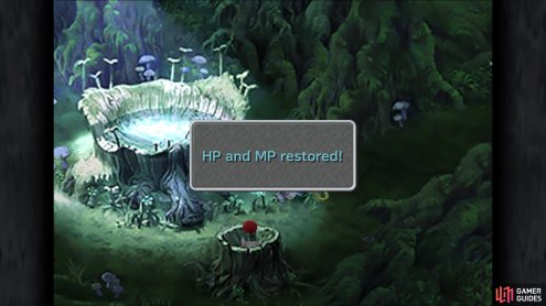 The spring in the Evil Forest restores both HP and MP