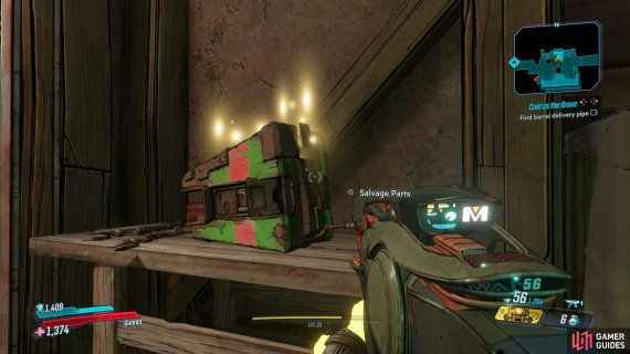 You'll find a Dead Claptrap at the bottom of the stairs in the first room