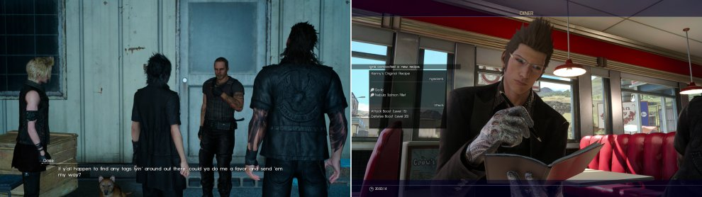 Talk to the wonderful Dave and he'll ask you to help him track down some Dog Tags (left). Buying new meals at restaurants you visit will occasionally teach Ignis new recipes (right).