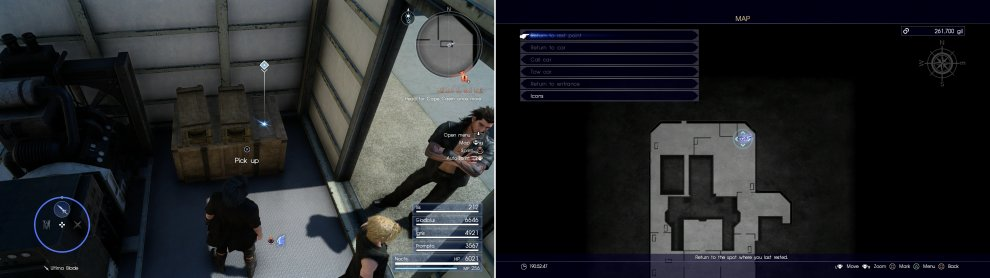 The Cerberus, a sniper rifle only Noctis can use (left) can be found at the area indicated on the map (right).
