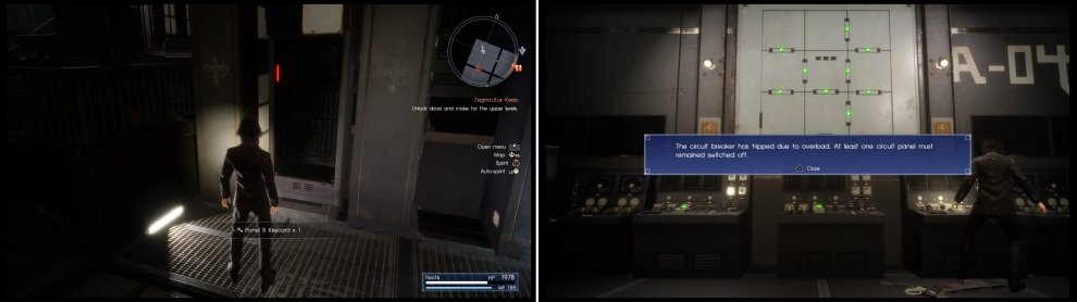 You must find the keycards (left) in this area so you can operate the circuits. However, the circuit will become overloaded (right) if you switch them all on.