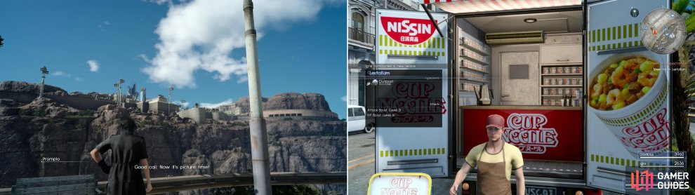 On the way to Lestallum, Prompto might just bug you to take advantage of a photo op (left). Near where you park you'll find a Cup of Noodles… Nissin must have paid good money for so much blatant promotion (right).