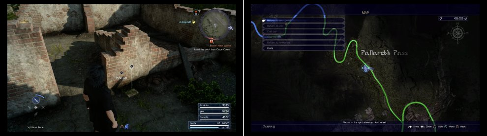 Search some ruins near Apline Stable Parking Spot to find Mystery Map XI (left) at the marked location on the map (right).