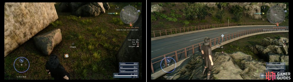 Search under the highway to find a magazine that'll teach Ignis a new recipe (left) then scale a rock to find a Treasure Spot that yields a Cactuary Needle (right).