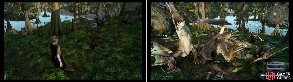 Fine the Black Chocobo Egg to discover that some other, hungry predators want the egg (left). Teach the Sahagin their place in the food chain and protect the egg (right).