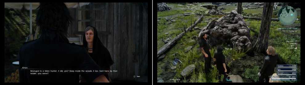 "Kimya - a ""witch"" - will give you information on a missing hunter in Malmalam Thicket (left). The Suillied Dog Tag can be found near the Tomb of the Pious (right)."