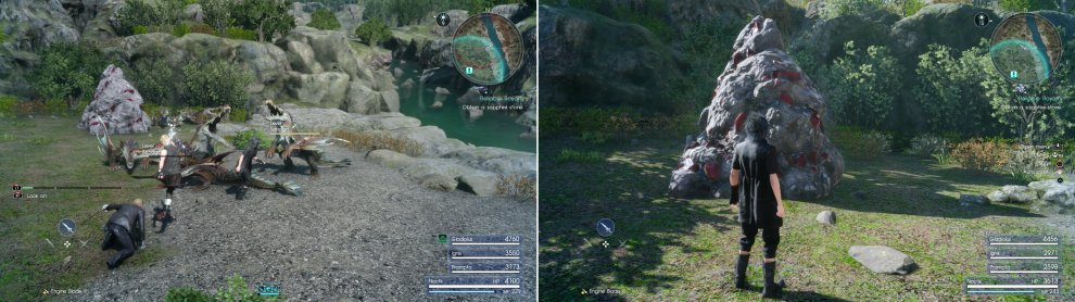 Kill the Sahagins nearby (left) then claim the Sapphire Stone from the Mineral Deposit near the Wennath River (right).