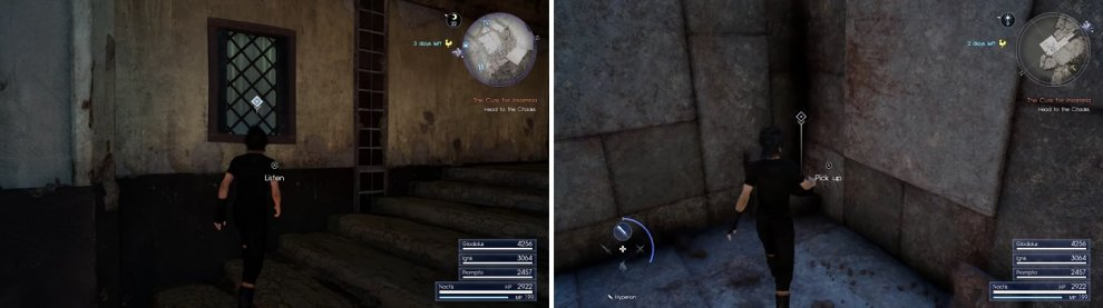 Start the Stealing the Past sidequest in Lestallum (left). You only need to pick up the Magitek Core to finish it (right).