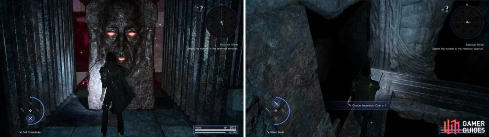 The statues serve as shortcuts throughout the dungeon (left). One of the main draws of Pitioss is that it has a lot of Oracle Ascension Coins (right).