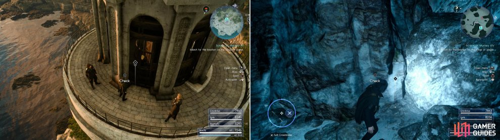 Sylvester's Map Piece M can be found atop the light house at Cape Caem (left), while Sylvester's Map Piece N is hidden in the Greyshire Glacial Grotto dungeon (right).