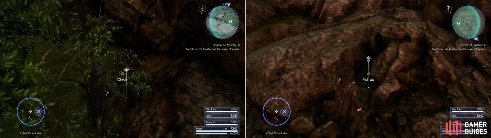 Search north of the Daurell Caverns dungeon to find Sylvester's Map Piece I (left), while on some rocks north-west of the Coernix Station - Cauthess you'll locate Sylvester's Map Piece J (right).