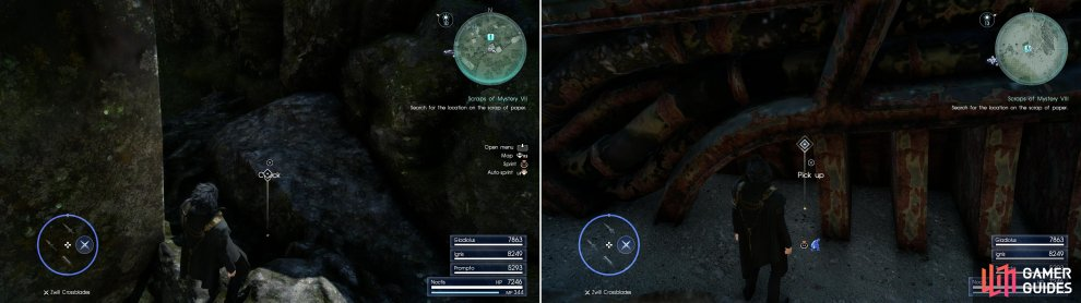 Sylvester's Map Piece G can be found near Foclaugh Hollow dungeon (left) while Sylvester's Map Piece H is near a dropship west of the Disc of Cauthess (right).